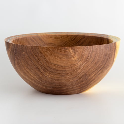 Image of Handmade Mesquite Bowl with Turquoise Inlay Rim