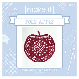 Image of Folk Pear & Folk Apple Cross Stitch Kits