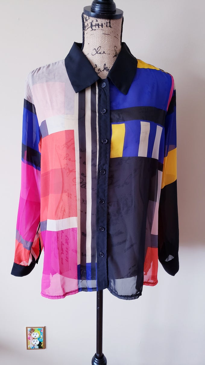 Image of Color Block Sheer Shirt