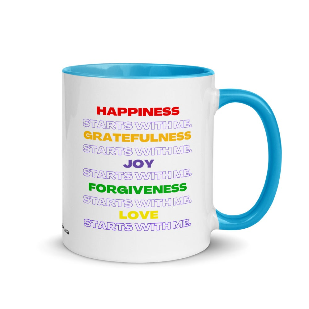 Image of It All Starts With Me Mantra Mug with Color Inside