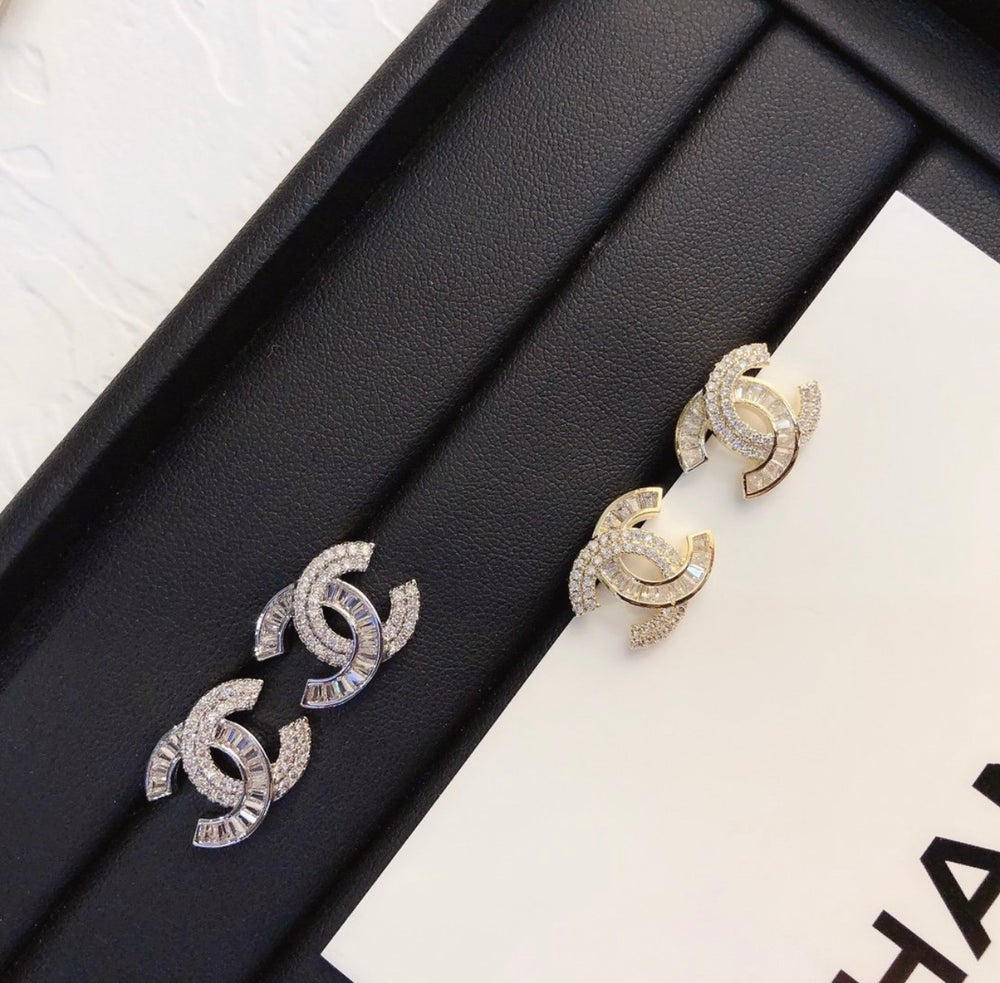 Image of CC Inspired diamond pendant earrings