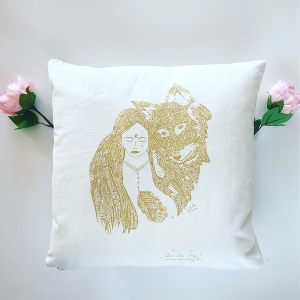 Image of Coussin *Wild Woman & Wolf*_40x40cm