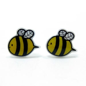 Image of Bumble Bee Earrings - Sterling Silver Posts