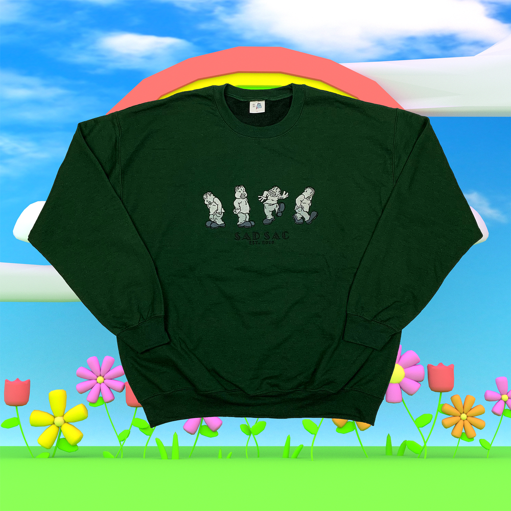 """Image of """"Wild mood swings"""" embroidered sweatshirt (Forest green)"""