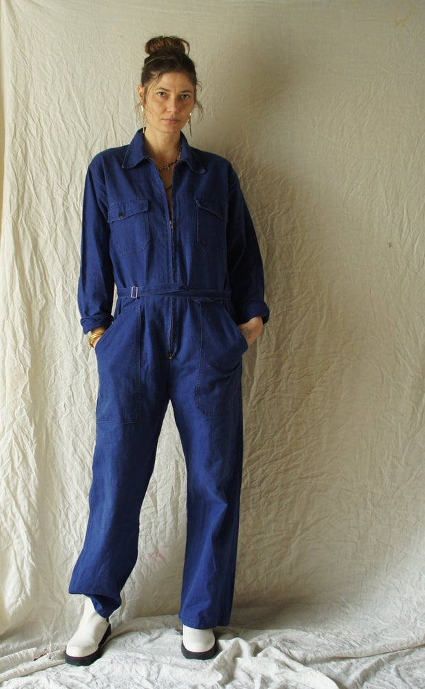 Image of French Work Wear Jumpsuit with slide belt