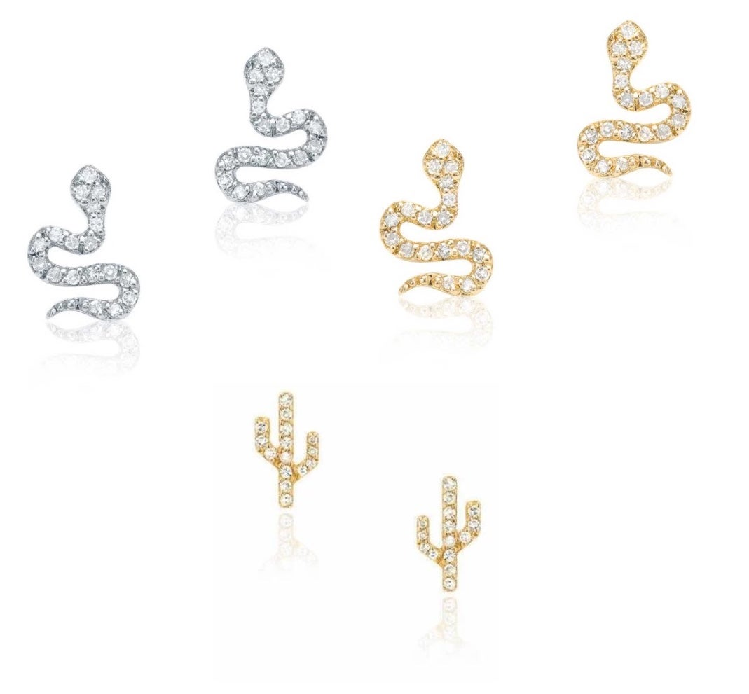 Image of  14 kt and diamond Snake or Cactus Studs (multiple sizes and colors)