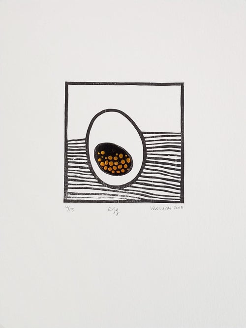 Image of Egg - Woodcut with Chine Collé