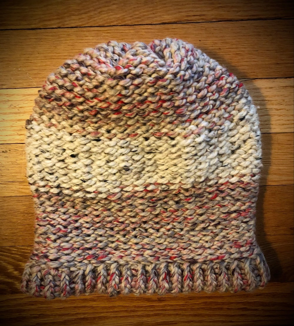 """Kerri's Strawberry Rhubarb Jam""  hand-knitted slouchy hat"