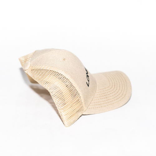 Image of Embroidered Trucker Cap in Tan