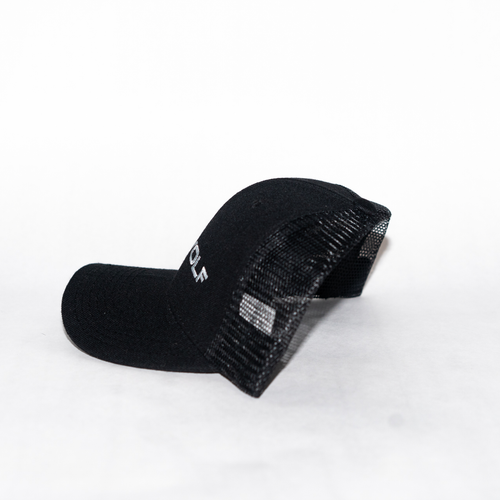 Image of Embroidered Trucker Cap in Black