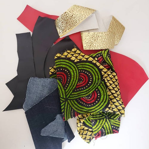 Image of Upcycled Denim and African Clutch