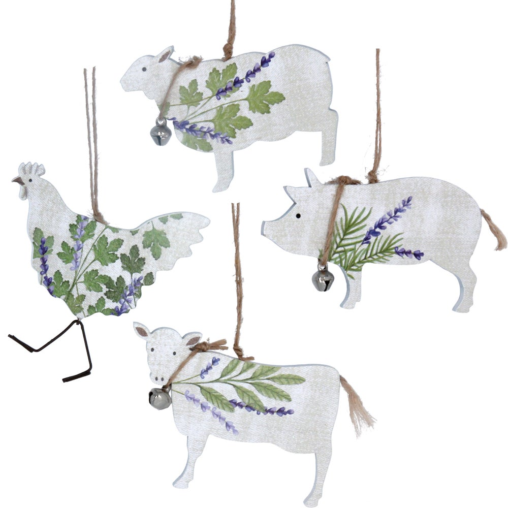 Image of Gisela Graham Lavender & Herbs Hen, Sheep, Pig, Cow,  Wood  decoration