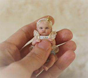 Image of  OOAK Polymer Clay 1:12 Dollhouse Scale Miniature Baby Girl