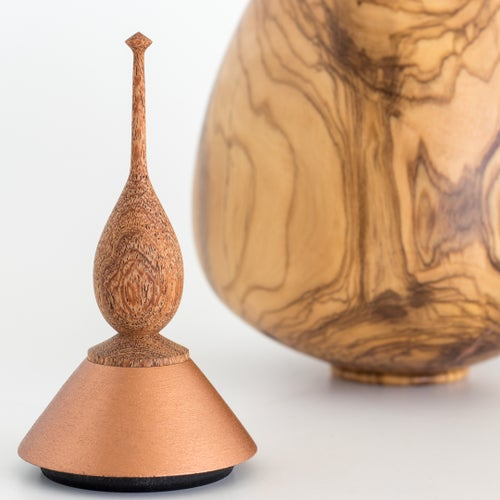 Image of Olivewood Vessel with Copper Inlay