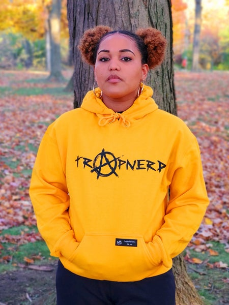 Image of Gold TrapNerd Anarchy Logo Hoodie