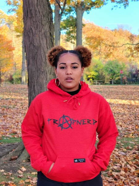 Image of Red TrapNerd Anarchy Logo Hoodie