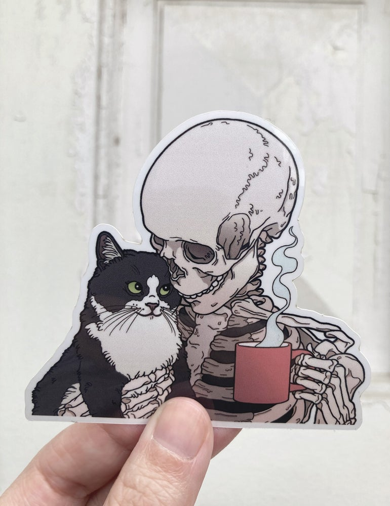 Image of Cats and coffee sticker
