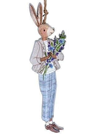 Image of Gisela Graham Boy Bunny with Lavender wood decoration