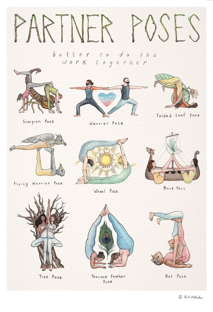 Image of Partner Poses Yoga Poster