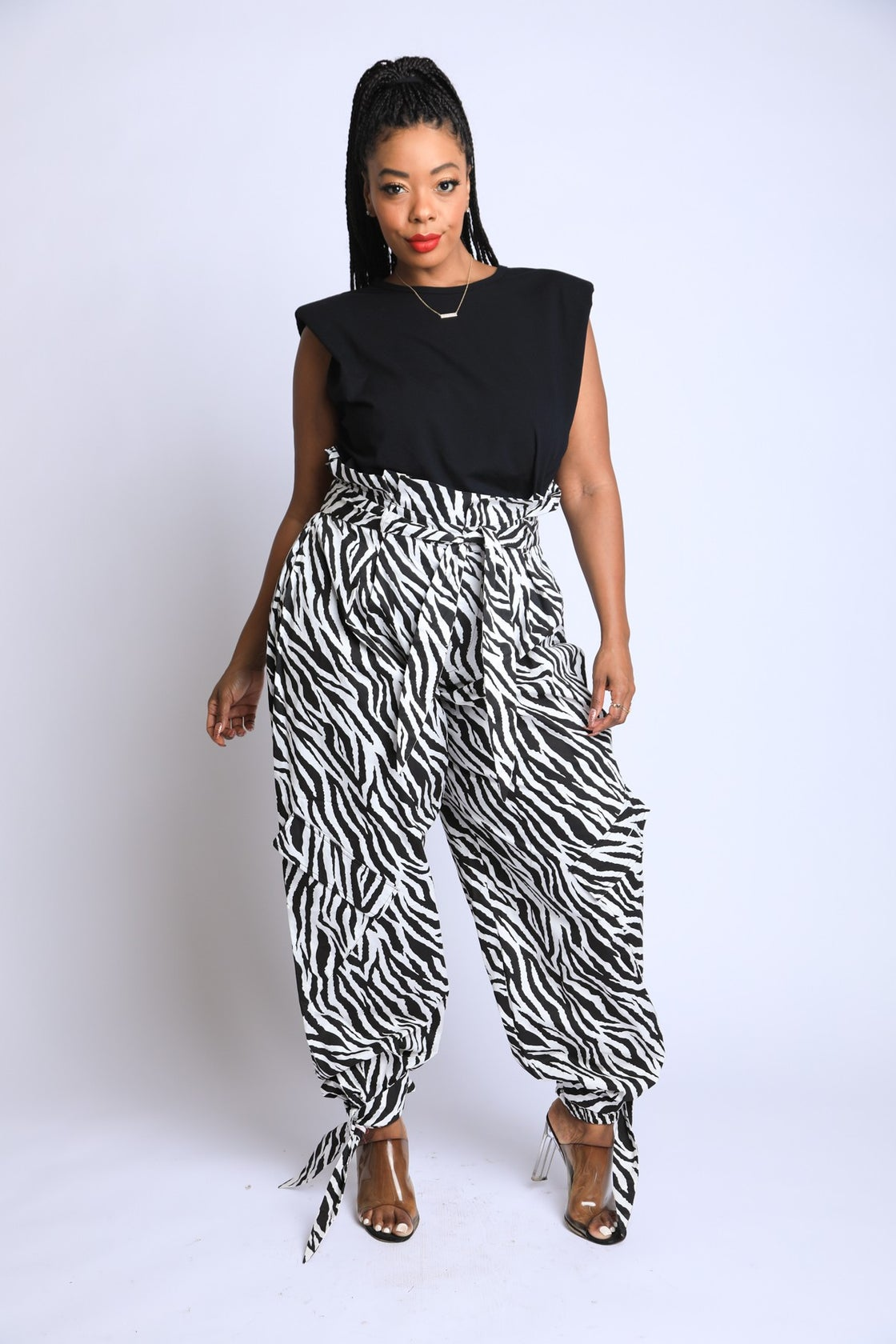 Image of Zebra Print Paper Bag Pants