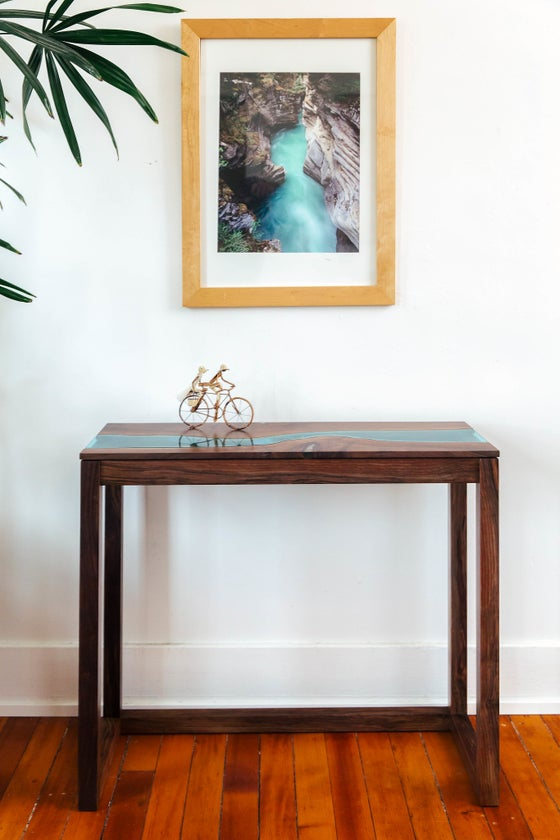 Image of walnut river console table