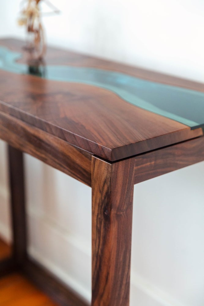 Image of black walnut river console table