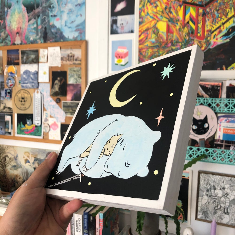 Image of Bear Sleeping and Night Sky Painting