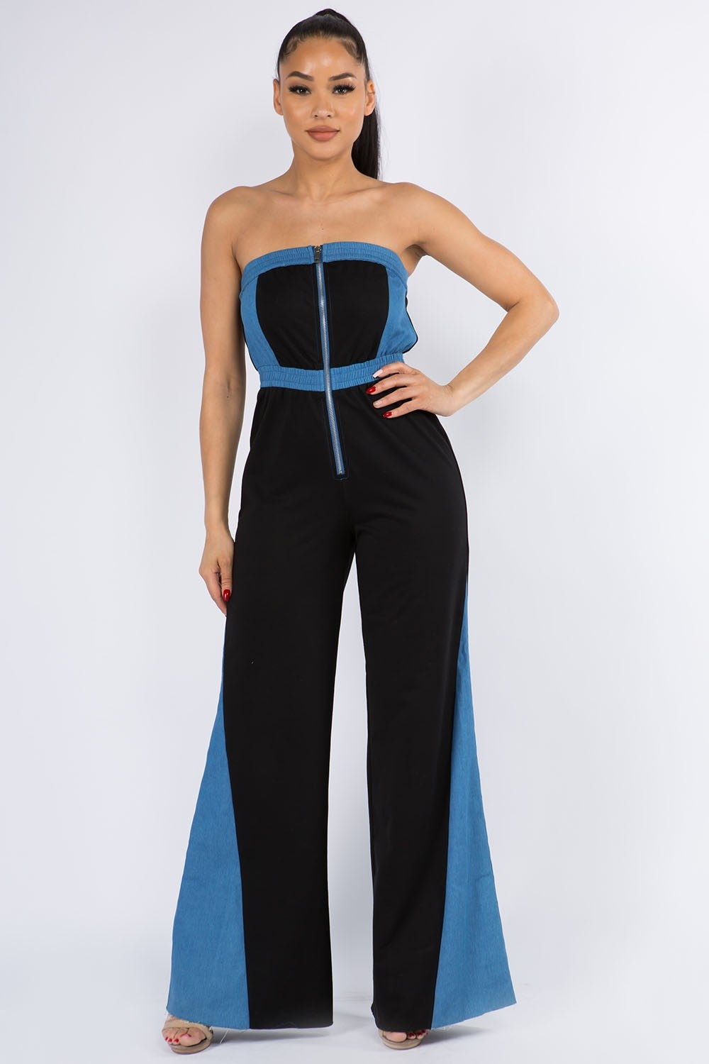 Image of DENIM BLOCK JUMPSUIT