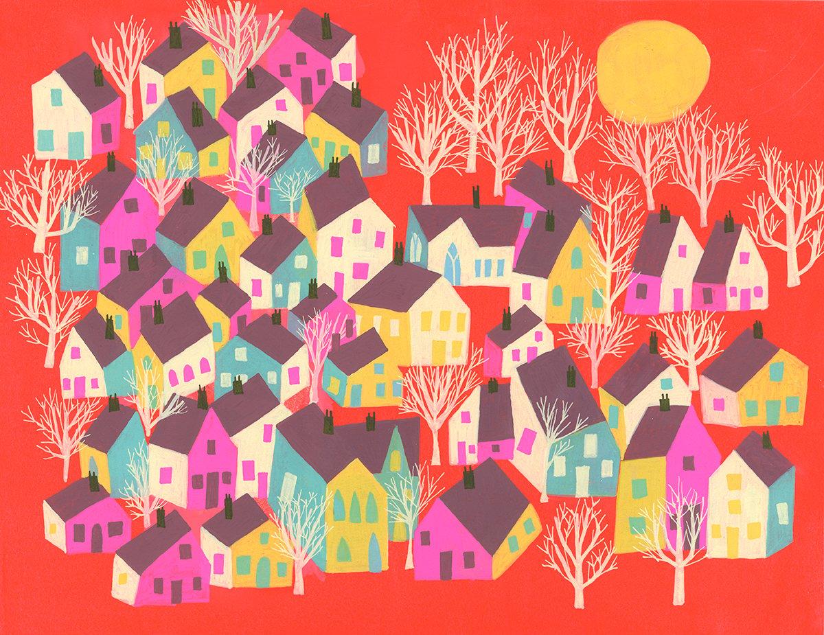 Image of A sleepy town. Original painting.