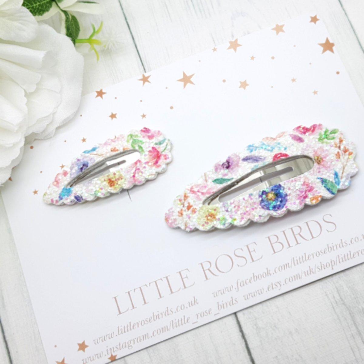 Image of Floral Glitter Twinning Clip Set / Mummy & Me