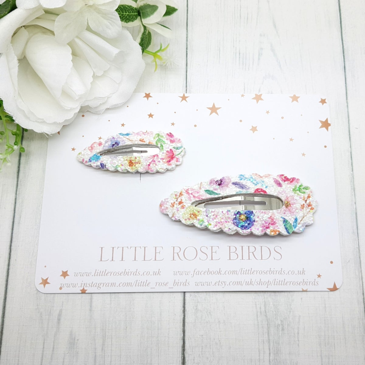 Image of Floral Glitter Twinning Clip Set / Mummy & Me