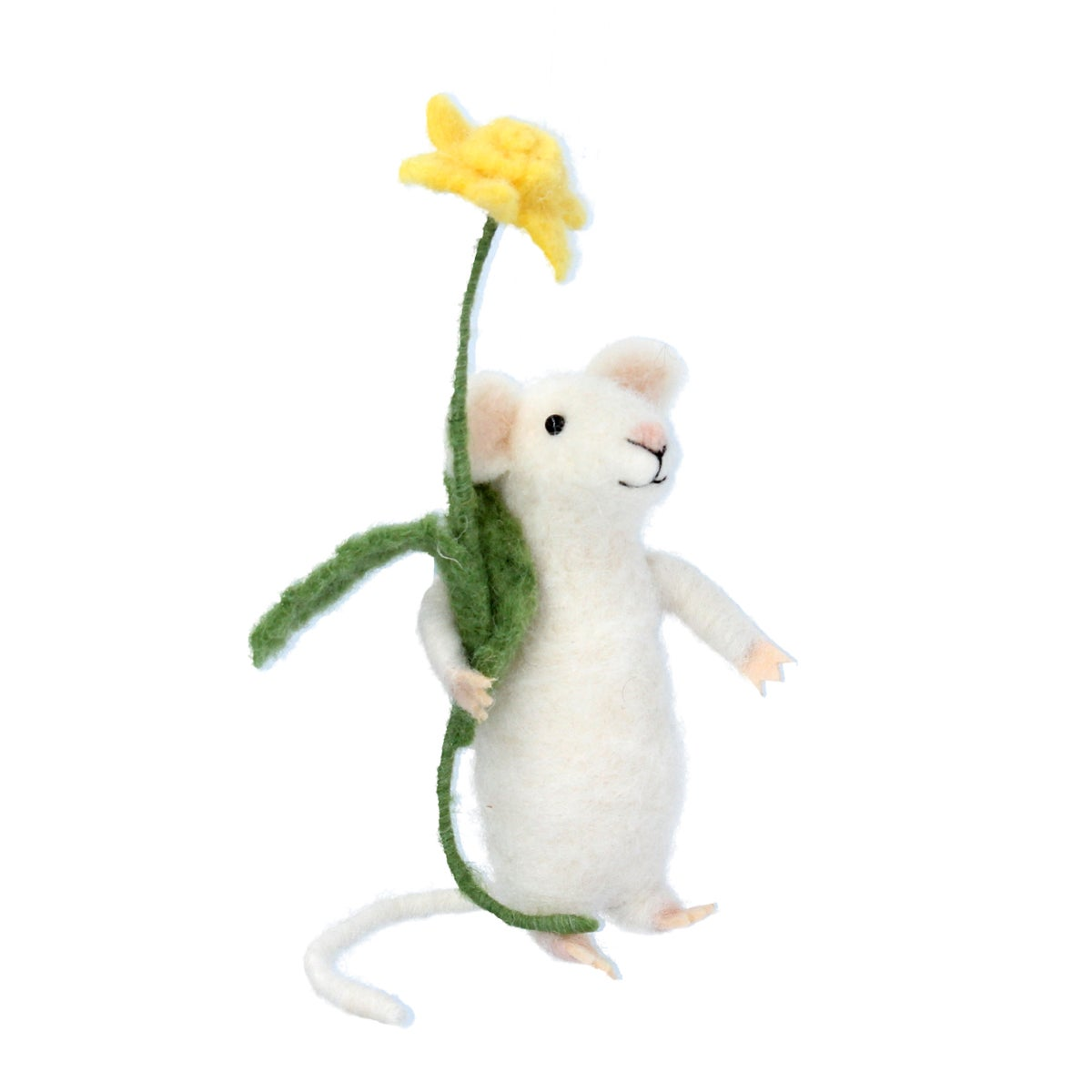 Image of Gisela Graham Wool Mix White Mouse with Daffodil