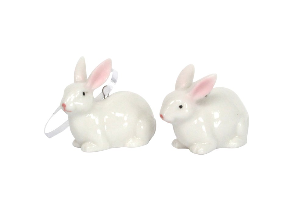 Image of Gisella Graham White Ceramic Bunny Decoration