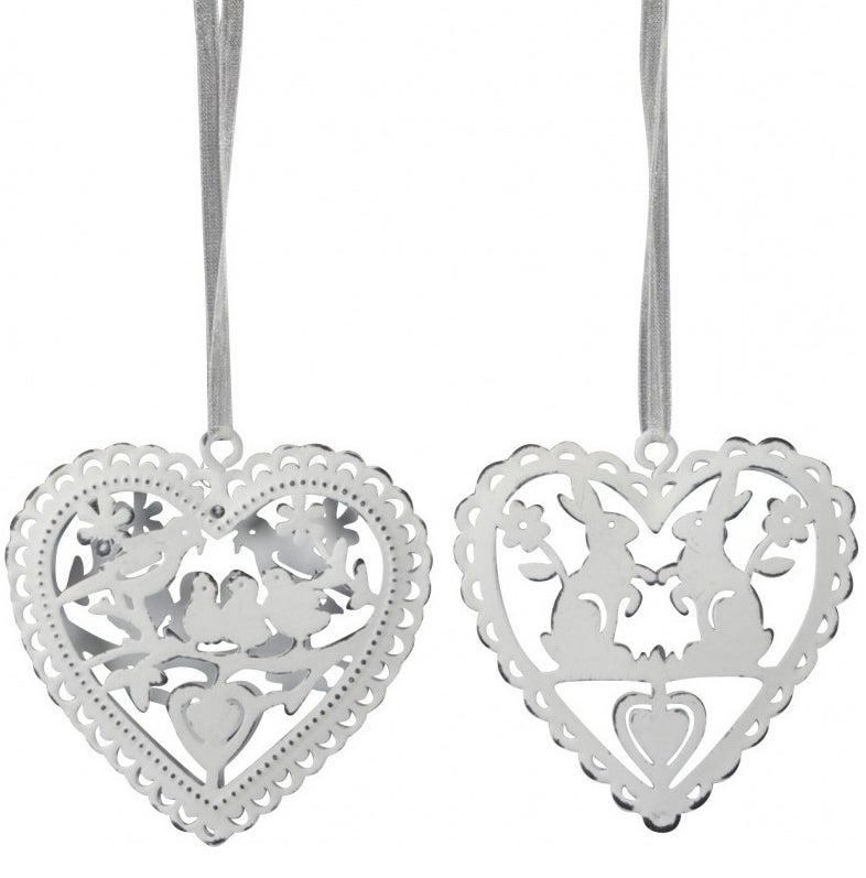 Image of Spring / Easter Shabby Chic  Metal Hearts