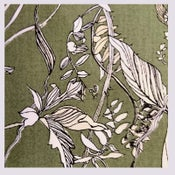 Image of Tissu: Les herbes folles all olive green