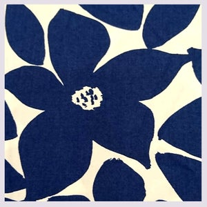 Image of tissu: invitation to elsewhere blue on white