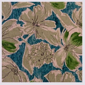 Image of Tissu: Spring and lush watercolor green and blue