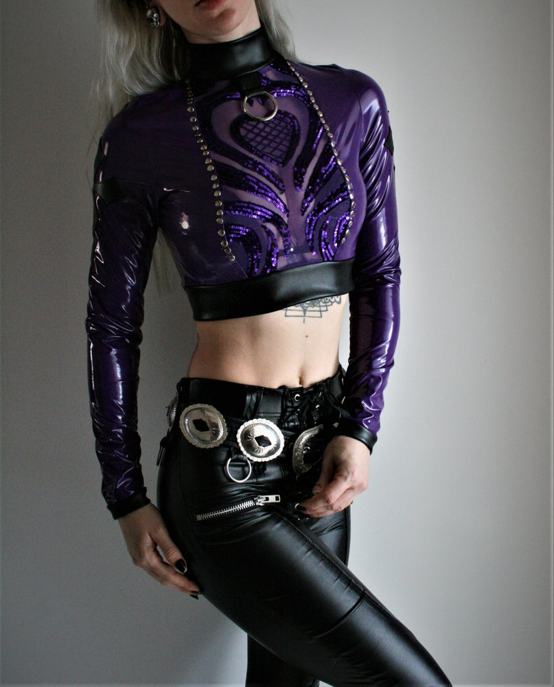 Image of PURPLE PVC AND SEQUIN CROP TOP