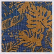 Image of Tissu: Monstera cognac on blue