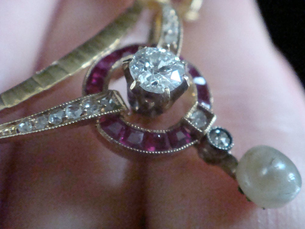 Image of Edwardian French 18ct yellow gold calibre cut ruby diamond and natural pearl bow necklace
