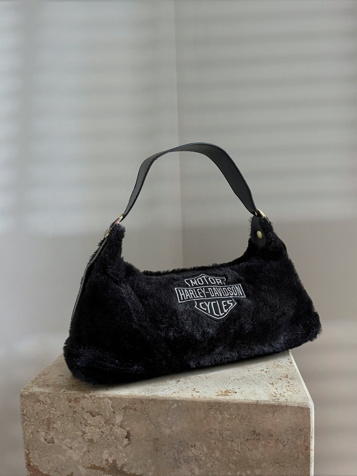 Faux Fur Harley Patch Bag