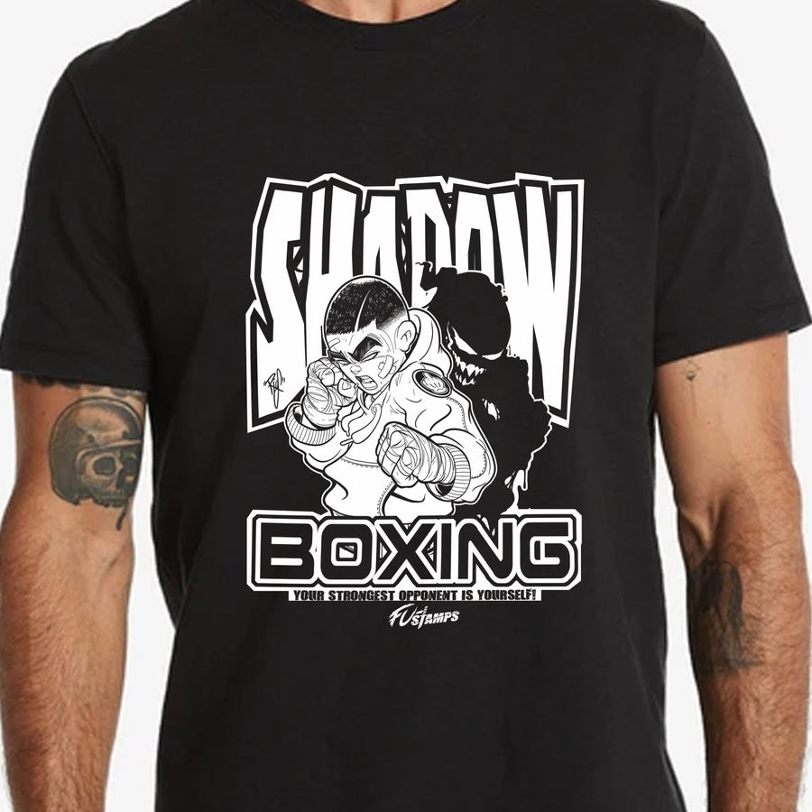 "Image of FU-Stamps ""Shadow Boxing"" tee with first appearance of ""WAPO"""