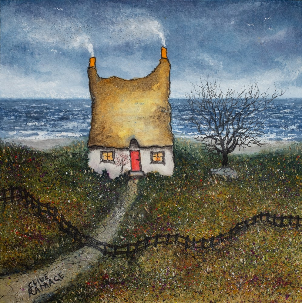 Image of Little Cottage By The Sea (Yellow Roof and Crooked Fence)