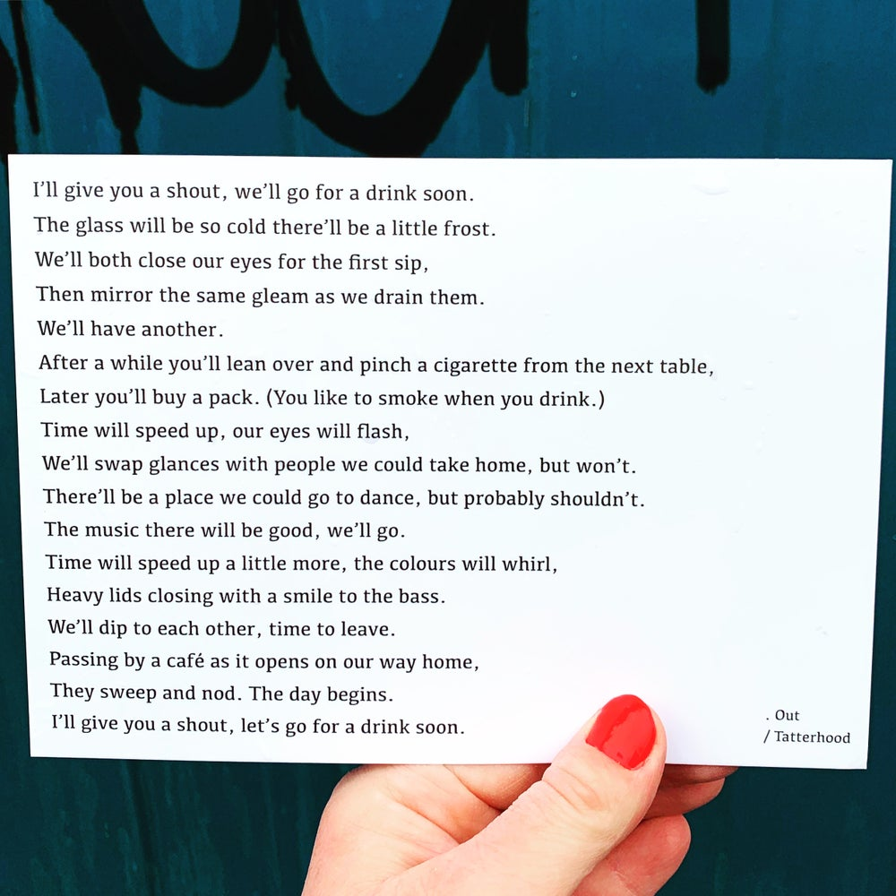 Image of Out - poem postcard