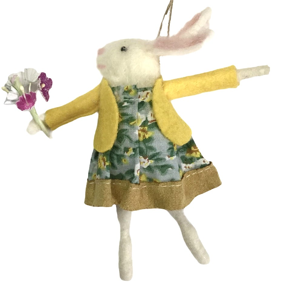 Image of Gisela Graham Mr And Mrs Bunny Easter Hanging Wool Decorations