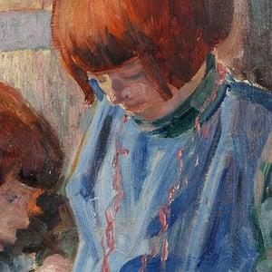 Image of 1940's German Painting, 'Sisters,' AUGUST GARBE