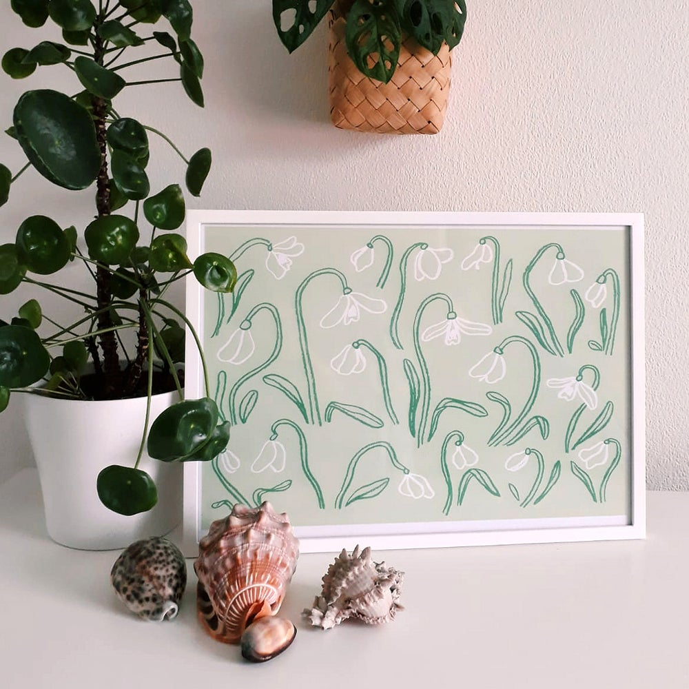 Image of 'Snowdrops' A3 Art Print