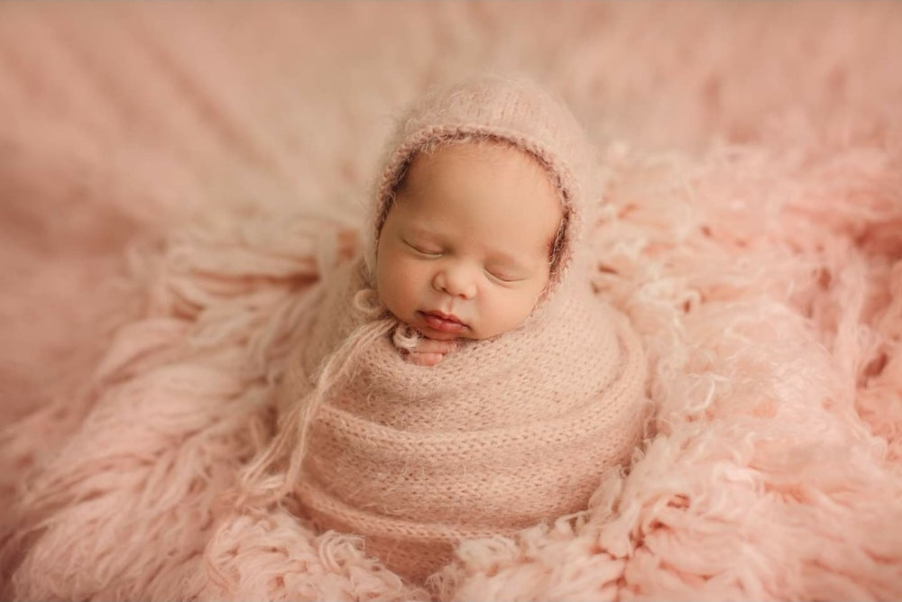 Image of Super soft fuzzy wrap sets with a simple bonnet. Preorder