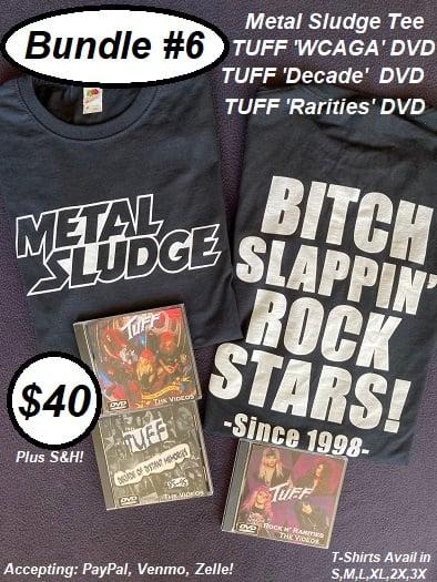 """Image of Sludge Bundle #6, Tee, Tuff """"WCAGA"""" DVD, Tuff """"Decade"""" DVD, Tuff """"Rarities"""" DVD"""