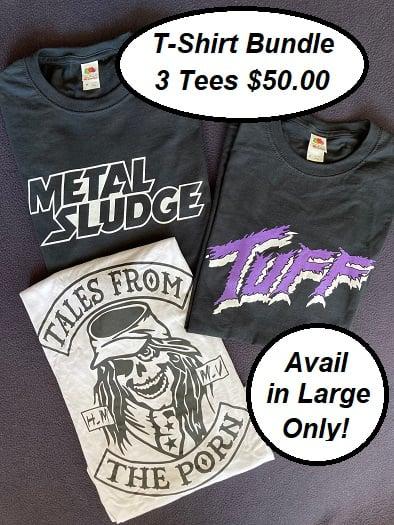 Image of T-Shirt Bundle, Tuff tee, Metal Sludge tee, Tales From The Porn 3/4 Sleeve Jersey